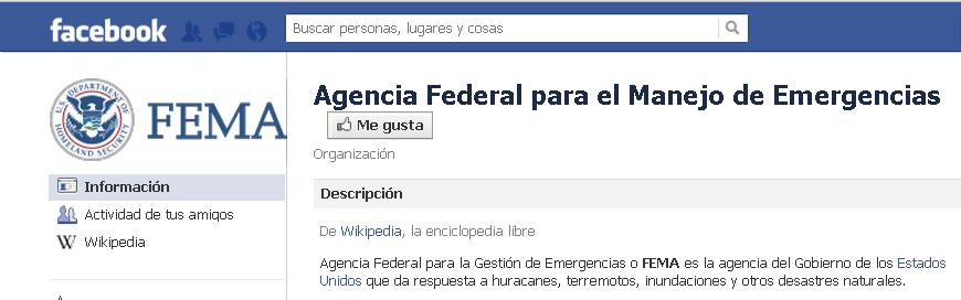 Páginad de Facebook de FEMA